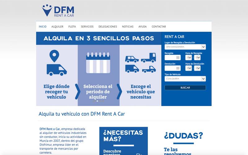 web alquiler vehículos DFM rent a car
