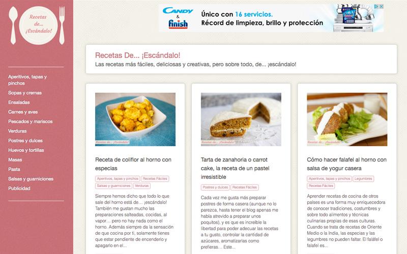 web del portal gastronómico recetas de escándalo